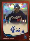 YASIEL PUIG 2013 TOPPS CHROME ROOKIE RED REFRACTOR AUTOGRAPH AUTO # 25