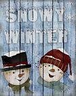 Primitive Distressed Christmas Winter Snowman Snow Couple Folk Art PRINT 8x10