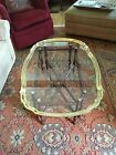RARE Vtg Baker Furniture  Faux Bamboo Turtle Top Tray Glass Brass Coffee Table