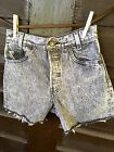 Vintage 80s Levis 501 Cut off Jean Shorts Black Acid Wash High Waisted Size 25