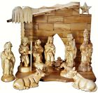 Christmas Olive Wood Nativity Set 11 Figures + Stable Hand Carved Holy Land