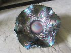 Vintage 5 inch Carnival Glass Ruffled Bowl Cobalt