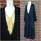 Antique 1920s Black Yellow Embroidery Crepe Silk Belted Tie Flapper Dress Large