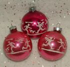 3 VINTAGE PINK ICE SKATING SKATERS STENCILED MERCURY GLASS CHRISTMAS ORNAMENTS
