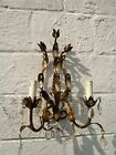 Double Wall Sconce Brass  Hollywood Regency Brown Prisms Tulips Flowers HTF