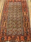 AMAZING VERY FINE ANTIQUE 1890-1900 BALUCH RUG  GOOD PILE
