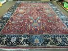 10' X 13' Antique Hand Made Indo Persian Agra Larastan Wool Rug Floral Red Nice