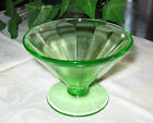 Vtg Federal Glass FEG6 Low Sherbet Dessert Dish Green Uranium Depression panels