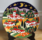 HAND PAINTED ART POTTERY PLATE/WALL ART - Tuscan Landscape - Orvieto, Italy