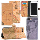 New Leather World Map Stand Wallet Phone Case Cover For Apple iPhone 7 / 7 Plus