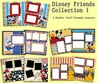 Set of 5 Double Pg Premade Disney Scrapbook Layouts Disney Friends Collection 1