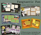 Set of 5 Double Page Halloween Premade Scrapbook Layouts Fangtastic Fun
