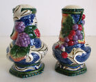 Fitz and Floyd Classic Florentine Fruit Blue Salt & Pepper Shakers