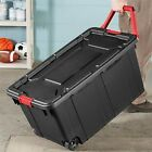 2 Durable Plastic Storage Wheeled Container Tote Rugged Industrial Lid Bin Box