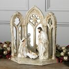 RAZ Imports 125 MIRRORED HOLY FAMILY Nativity Manger Christmas Jesus Religious