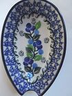 NEW C.A. POLISH POTTERY SPOON REST -Blue Berries Pattern