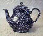 Churchill Calico Staffordshire England Square Dark Blue Teapot  5 cups