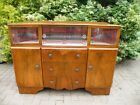 1920's Art Deco Dazzling Walnut Cocktail Cabinet, Liquor Bar, Sideboard