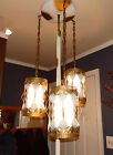 Vtg Mid Century/ Hollywood Regency TENSION POLE FLOOR Hanging LAMP Tole Gold/Wht