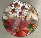 222 Fifth Poinsettia Holly Appetizer Dessert Plates Set Of 4 Christmas Holidays