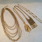 vintage costume jewlery necklace lot - gold tone filigree and chain link styles