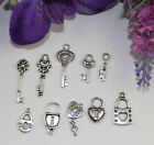 New Sales 50PCS Mixed Lots of tibetan silver Lock and Key Charms 22468