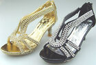 New Youth Kids Girls Rhinestones Low Heel Party Pageant Sandals Dress Shoes