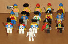 VTG LEGO PIRATE MINIFIGURE LOT OF 16 W/WEAPONS & PARTS VERY NICE