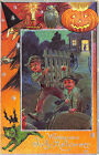Jolly Halloween Fence Running Boys Witch J O L Green Cat Embossed Postcard