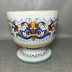 Deruta Ceramiche Vintage Footed Pedestal Bowl Ornate Decorative MaDe In Italy