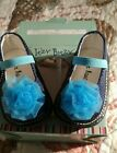 itzy bitzy girl blue sequin Mary Janes with flower size 4