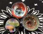 Set of 3 22 25 MM Hand Made Glass Mushroom Vortex Wave Art Marbles
