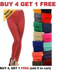 Womens FLEECE LINED LEGGINGS Thick Thermal Solid Warm Winter Long Footless New