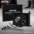Universal 15 Row 10AN Engine Transmission Oil Cooler + 7 Electric Fan Kit