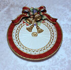 Fitz and Floyd Christmas Wreath Canape Plate Ribbon Bells