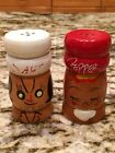 Vintage Salt and Pepper Wooden Chef Shaker Set Hand Painted 2.75