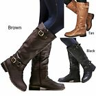 New Women Ed07 Brown Black Tan Buckle Riding Knee High Boots size 55 to 11