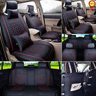 Black/Red 5-Seats Car PU Leather Seat Cover Front+Rear Set w/Neck Lumbar Pillow