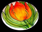 LOVELY NOBLE ELEGANCE VINTAGE ITALIAN POTTERY HUGE ORANGE TULIP PLATE PERFECT