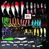 Lot 100 pcs Kinds of Fishing Lures Crankbaits Hooks Tackle+Box Minnow Bass Baits