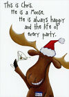 Chris the Moose Recycled Paper Greetings Funny Christmas Card