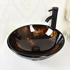 NEW Bathroom Round Glass Vessel Sink ORB FaucetPop up Drain Combo Set Brown