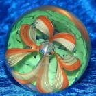 Vintage Murano Art Glass Paperweight Ribbon Flower with Controlled Bubble