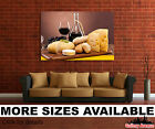 Wall Art Canvas Picture Print Wine Glass Grapes Cheese 32