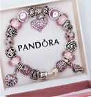 Authentic Pandora Silver Charm Bracelet with Pink Love European charms