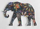 ELEPHANT covered with flowers Iron on patch 4 inches width Flock cool item L@@K
