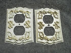 Pair White w/Gold Embossed Designed Trim 1960's Outlet Cover Plates, Free S/H