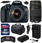 Canon EOS Rebel T5 1200D DSLR w 18 55mm + 75 300mm III Objectif 16GB Economie