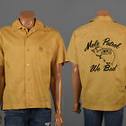 Sz XXL Vintage 60s 1960s Mens Bowling Shirt Yellow Loop Collar Embroidered Team