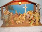 Vintage Presepio ITALY Nativity Set with 10 Figures  Wood Creche Stable